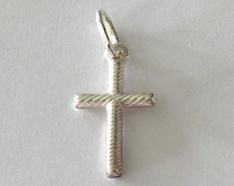 Cross Pendant - Sterling Silver Ripple Style Cross - Double Sided