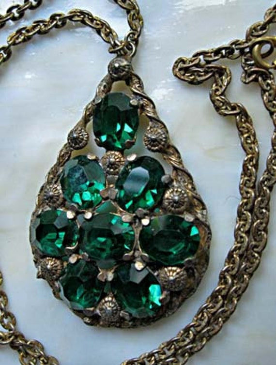 Large Czech brass pendant green faceted glass stones
