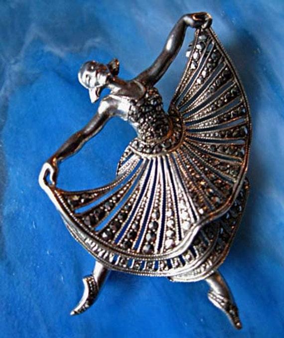 Ballerina dancer brooch Germany sterling marcasites exquisite vintage piece