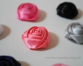 PETITE rolled satin rosette buds - YOUR CHOICE of 23 Colors - You Choose the Quantity - Crafting Supplies