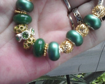 Real Jade, pearl green beads and gold plate, Euro style bracelet