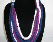 Free US Shipping: Purple Blue and White Crocheted Rope Chain Necklace