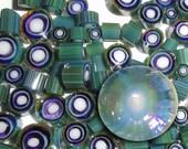 SALE!! Butterfly Wing...Handmade Murrini Chips..Millefiori Slices COE 104 Reactive Silver glass blue mirror iridescent ....Beatlebaby Supply
