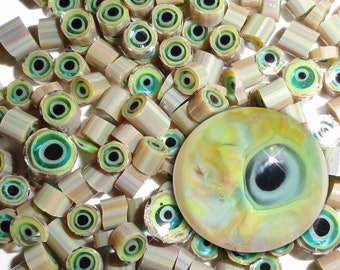 Goblin Snot...Handmade Murrini Chips...Millefiori Slices..COE 104 Reactive Silver glass glass monster eyes eyeballs Beatlebaby Supply
