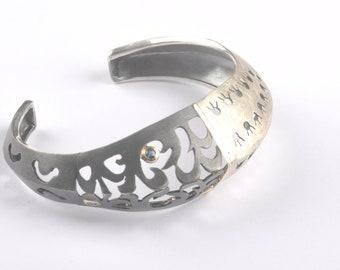 Two Toned Statement Cuff - Artisan Sapphire Silver Bracelet - Modern Filigree Bracelet