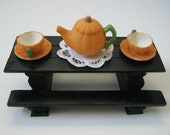Rustic Black Log Picnic Table w/Pumpkin Tea Set - NobleCabinWorks