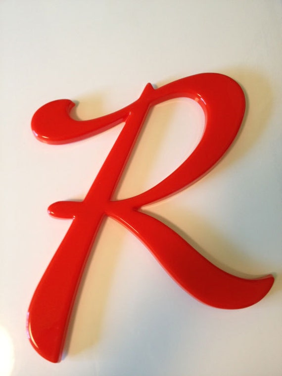 Vintage letter r initials orangey red name wall decor 12 for S letter decoration