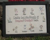 Personalized gift for grandparents. Cousins Become Friends at Grandma & Grandpa's House Picture sign