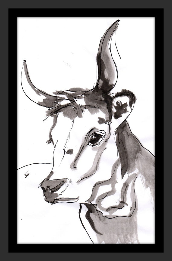 Ox Hand Painted - Animal Art Nature