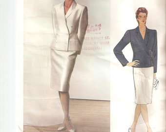 UNCUT Vogue Sewing Pattern 1158 , design by Bill Blass for Jacket and Skirt, Sz 14, 1990s