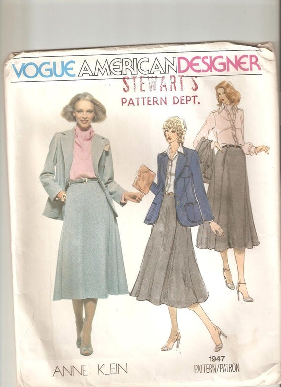 UNCUT Vogue Sewing Pattern 1947, design by Anne Klein for Jacket, Shirt and Scarf, Sz 14, 1980s