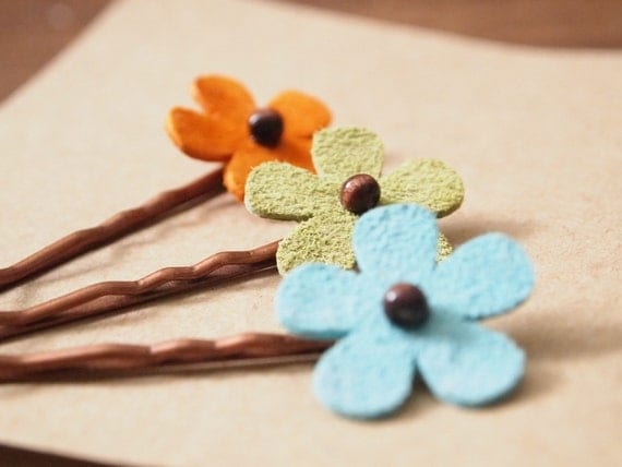 Suede Daisy Bobby Pins (Set of 3)