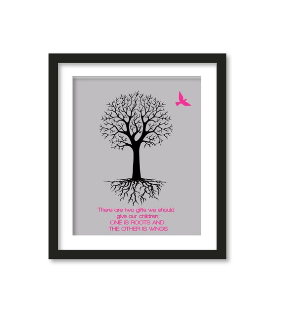 Roots and Wings   in gray - Inspirational Quote - Nursery Wall Art - Kids Room Decor - Home Decor - Motivational Quote -