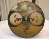 An antique hand painted cog clock face sun/moon night/day