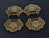 Two Beads Charm Lock Pendants Antique Brass bronze Plated Victorian Pendants Beads ----- 30mmx 37mm ----- 2 Pieces 2C