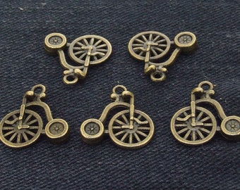 12Beads Charm Double Face Bicycle Pendant Brozen  Plated Victorian Pendants Beads ----- 17mmx 15mm ----- 12Pieces 2E