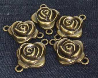 6Beads  Charm Superb Two Loops Rose Flower Pendant bronze Plated Victorian Pendants Beads ----- 21mmx 30mm ----- 6Pieces 2E