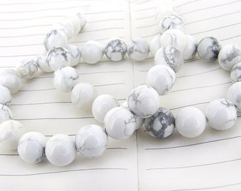 """strand Round White Turquoise Beads ----- 12mm ----- about 32Pieces ----- gemstone beads--- 15.5"""" in length"""