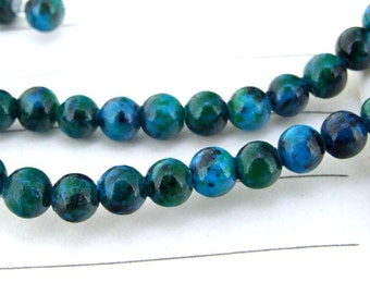 "Charm Round Samller Azurite Chrysocolla Jasper Gemstone Beads--- 4.5mm ----about 90Pieces----15"" in length"