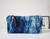 zippered pouch, reverse tie dye