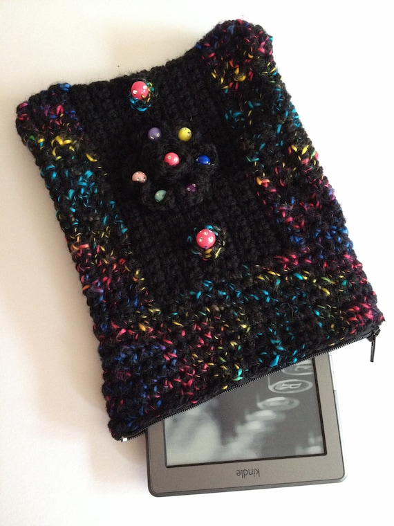 Ooak hand crocheted/knitted black kindle touch,kindle wifi,fire,3g,kindle 3 keyboard,kobo reader case,cover ereader,ebook,sleeve,purse.