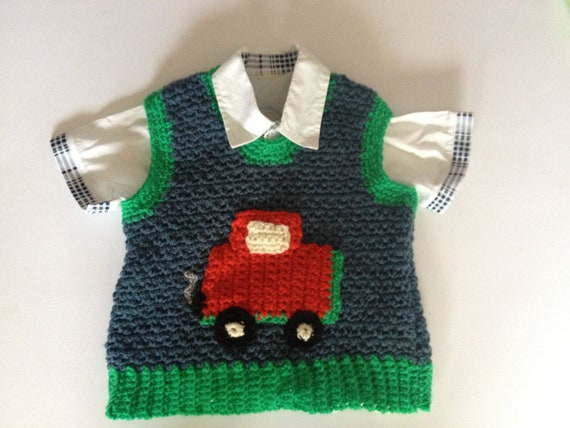 Blue,green aran Baby,boys,toddlers handmade crocheted/knitted sweater vest jumper with car,vehicle applique, little man