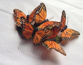 Monarch glen feather butterfly hair comb hairpiece bridal weddings boho orange