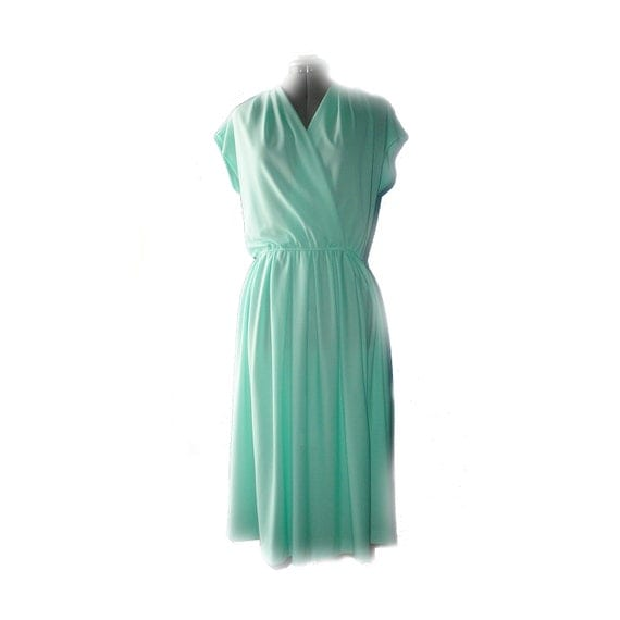 Teal or mint green grecian wrap dress - faux wrap, blue / jade green - L XL 12 14 Mad Men style