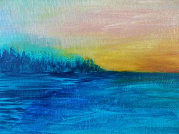 SALE - SEA SCAPE Painting Acrylic Art 8 x 10 Shades of Turquoise Teal Ocean Navy Blue Forest Green Hunter Green Ochre Yellow, Rust Orange