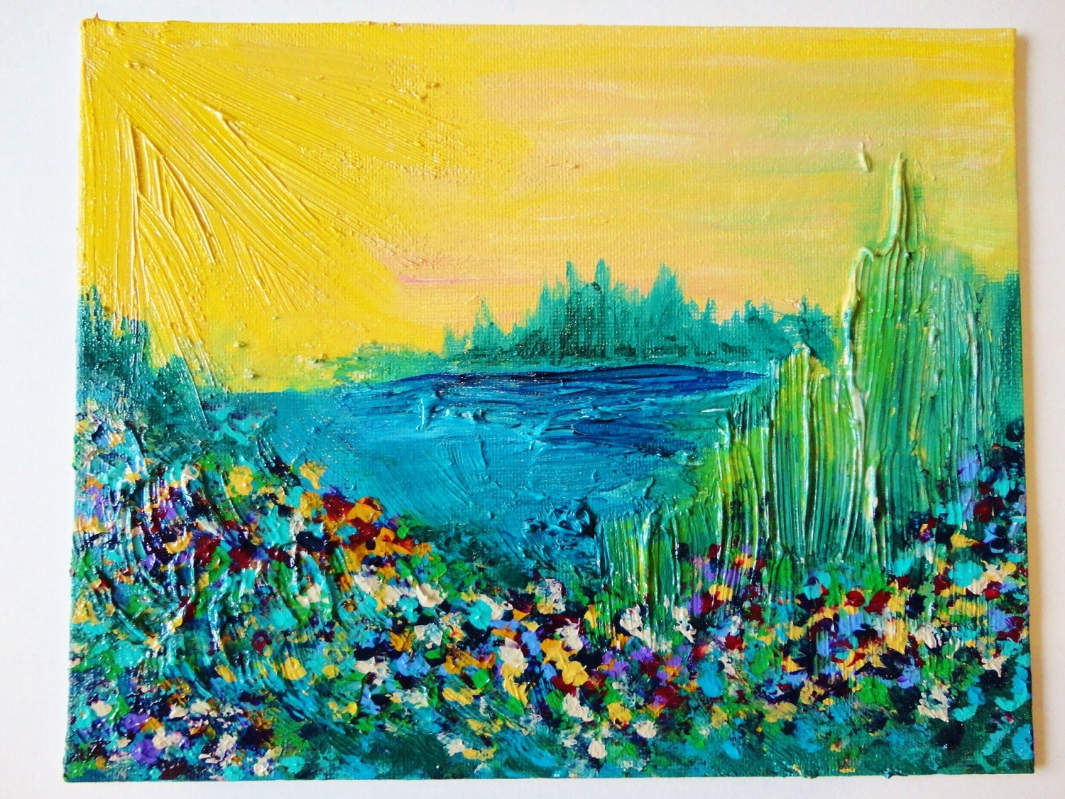 SALE - OOAK ACRYLIC Painting, Abstract Floral Wildflowers