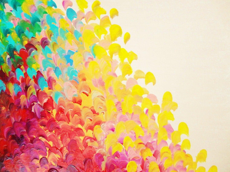 Sale abstract rainbow splash ooak acrylic painting beach art for Color splash wall art