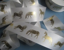 "Elegant Equitation Horses Ribbon, Gold / White, 1 3/8"" inch wide, 1 yard, For Mixed Media, Gifts, Scrapbook, Home Decor, Accessories"