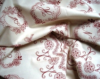 "Romantic Alphabet Panel Fabric, Cranberry / White, 16"" X 44"" inches, 100% Cotton, For Victorian & Romantic Projects"