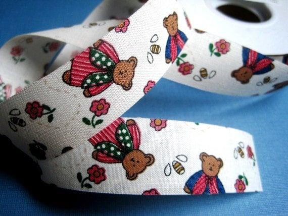 "Little Teddy Bears Cotton Ribbon Trim, Multi / Beige, 7/8"" inch wide, 1 yard, For Scrapbook, Decor, Accessories, Mixed Media"