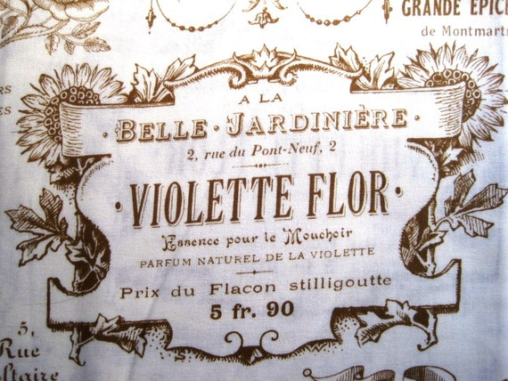 """Vintage - Inspired Elegant French Ads Fabric, Fat Quarter, Champagne, 18"""" X 22"""" inches, 100% Cotton, For Victorian & Romantic Projects"""