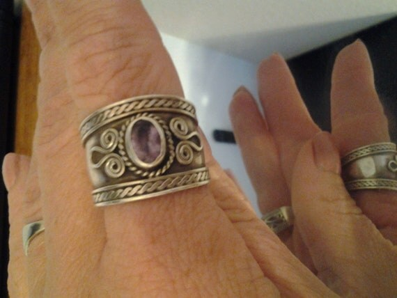 Reserved Vintage Silver and Amythest Ring
