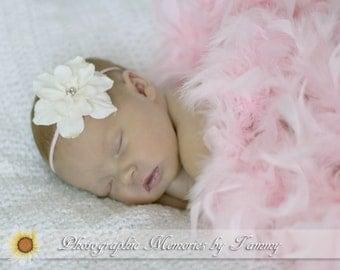 Ivory Primrose Silk Baby Flower Headband, Newborn Headband, Baby girl flower headband, Photography Prop