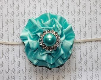 Aqua Satin Rhinestone Baby Flower Headband, Newborn Headband, Baby Girl Flower Headband, Photography Prop