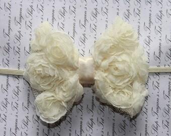 Ivory Chiffon Rose Bow Baby Flower Headband, Newborn Headband, Baby Girl Flower Headband, Photography Prop