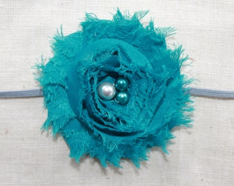 Teal and Gray Chiffon Baby Flower Headband, Newborn Headband, Baby Girl Flower Headband, Photography Prop