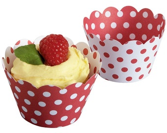 50 Reversible Polka Dot Cupcake Wrappers - Red and White