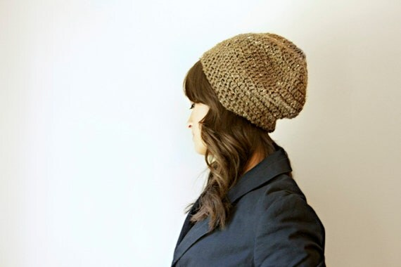 slouchy beanie - flecked barley brown - women's accessories