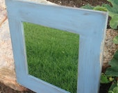Light Blue Distressed Framed Mirror