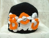 Ghostly BOO Hat in Black - crochet