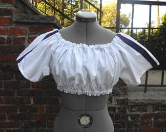 Custom made ladies Ultra Mini medieval short sleeve chemise with trim