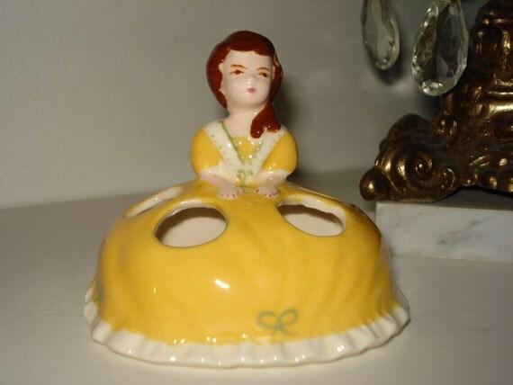 Vintage Lipstick Holder Girl Figurine Duncan Enterprises 1977