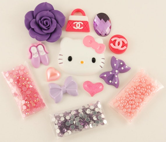 """Kawaii pink / purple """"Sweetheart"""" DIY deco kit to bling out your phone - Set 144G"""