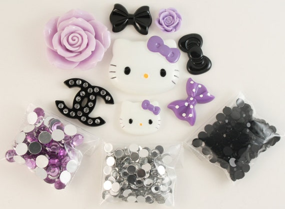 Charming midnight kawaii purple / black DIY deco kit to bling out your phone - Set 141C