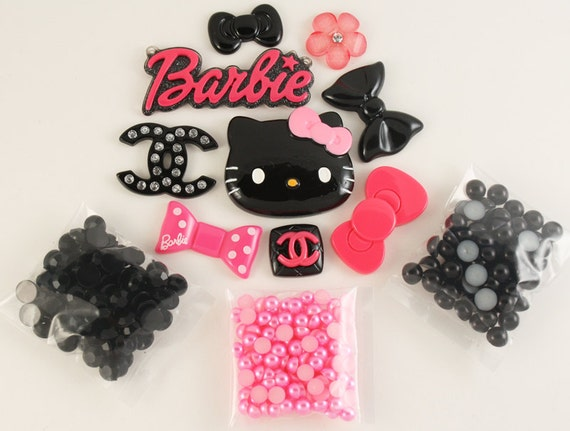 Kawaii pink / black style maven DIY deco kit to bling out your phone - Set 143J