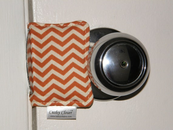 The Original Cushy Closer Door Cushion - Orange & Cream Mini Chevron